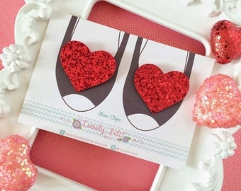 Glitter Heart Shoe Clips Handmade - Red Glitter Heart Shoe Clips - Red Glitter Shoe Clips - Wedding Shoe Clips -Bridesmaids Shoe Clips
