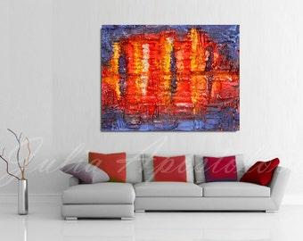 Cityscape Painting, Abstract Art, Night painting, ''Abstract Skyline'', Modern Wall Decor, Print, Blue, Art Print by Artist Julia Apostolova
