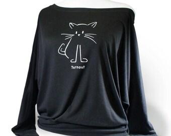 Cat Turnout Ballet Shirt.  Long Sleeve Dance Top - Black.  Ballet top for coverup over leotard. Dancewear for ballet dancers.