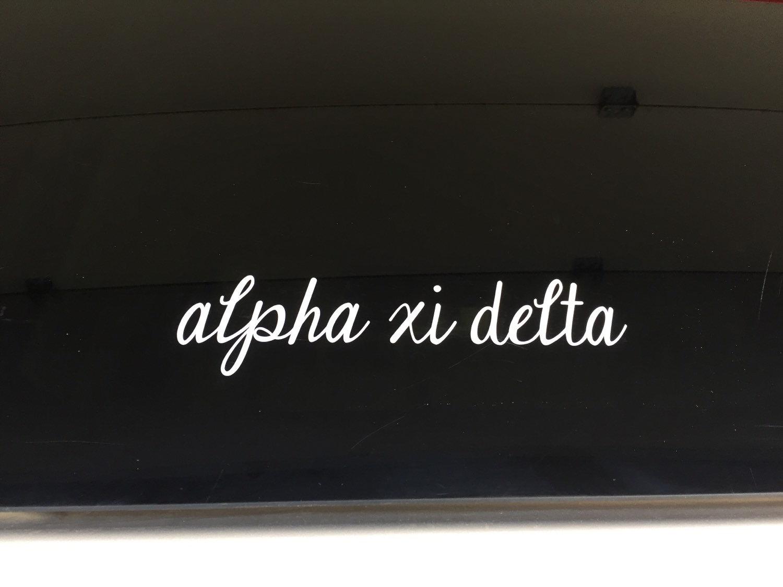 Alpha Xi Delta Script Cursive Sorority Sticker Window Laptop
