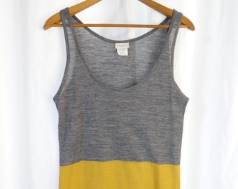 vintage DRIES VAN NOTEN yellow and grey color block tank top/ sheer wool blend: size Medium