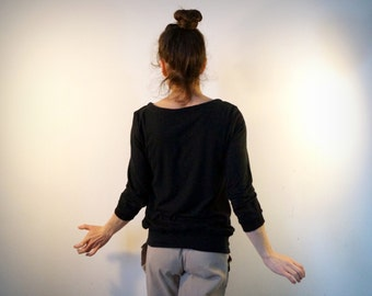 end t-shirt in hemp and organic cotton black and satin. 3/4 sleeves.