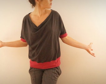 carbon grey and pink cowl neck t-shirt raspberry in hemp and organic cotton
