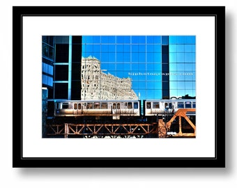 Elevated Train, downtown Chicago, CTA, Color Photograph, Office decor, Wall Art