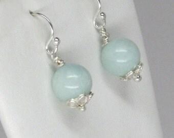 SALE 20% OFF Light green amazonite earrings by simonebijoux.  Silver flower detail, light green earrings, authentic amazonite earrings, silv