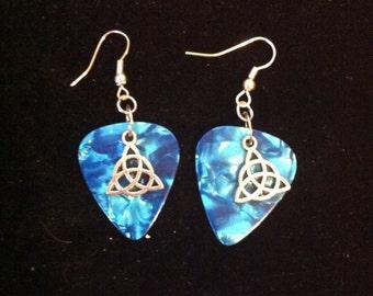 Celtic Knot Guitar Pic Earrings, Blue Marbeling, Guitar Pick Earrings, Ready to Ship, Celtic Style Jewelry