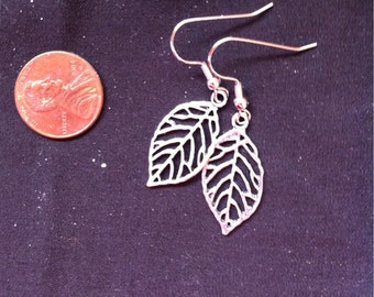 Silver Filigree Earrings, Leaf Earrings, Filigree Leaf Jewelry