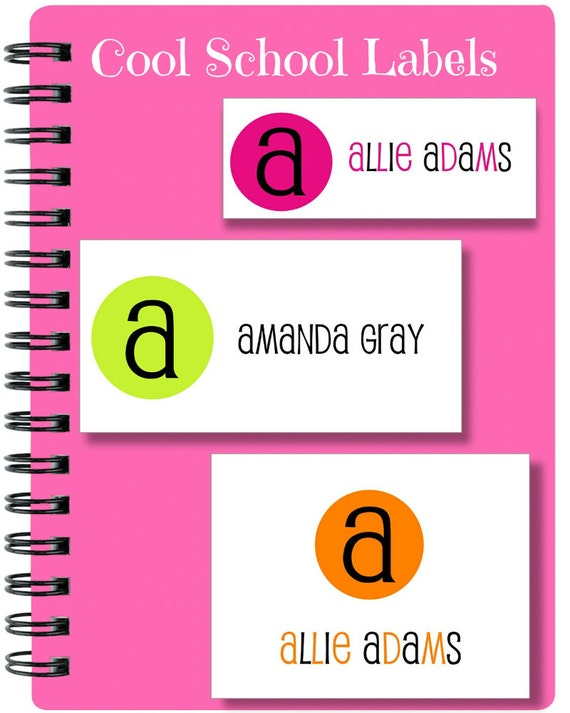 School Labels, Back to School, Initial, Personalized Stickers, Personalized Labels, Colorful Dot Labels, Tags