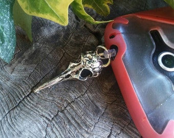 Dust Plug - Cell Phone Dust Plug - Raven Skull Dust Plug - Cell Phone Charm