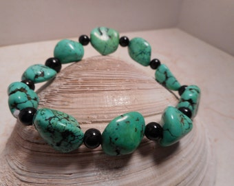 Chunky Faux Turquoise Stretch Bracelet