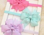 Set of 3 Hot Pink,Aqua  and Lavender headband bows,newborn headbands,baby headbands, baby bows,toddler headbands,infant headbands,bows