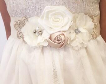 Ivory sash,childrens sash,wedding sash,wedding accessories,beige and ivory sash,flower girl sash