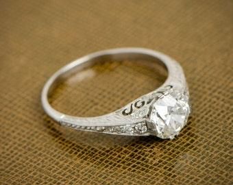 1.18ct Antique Style Engagement Ring - Estate Diamond Engagement Ring