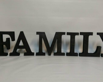 Wooden Shelf Letters. Free standing letters. FAMILY.