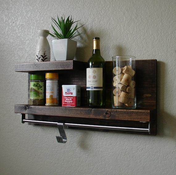 Modern Rustic 2-Tier Spice Rack Shelf w/ 23 Pot Rack Bar