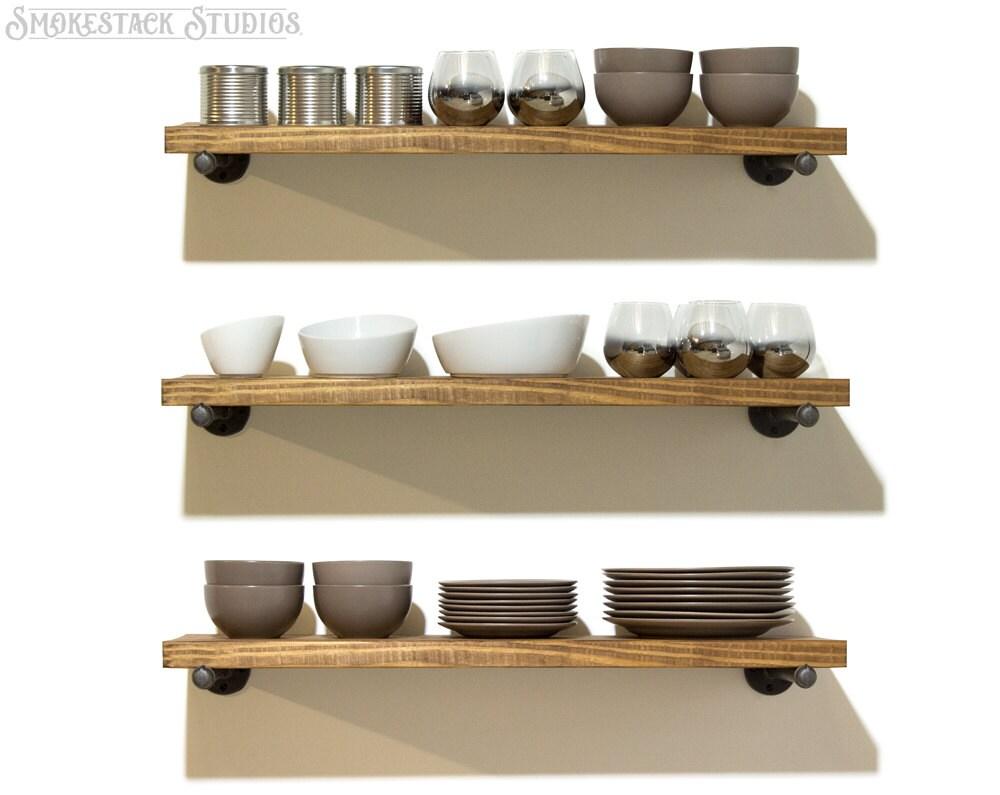 Set of 3 industrial floating shelves 10 depth by - Modern kitchen shelving ...