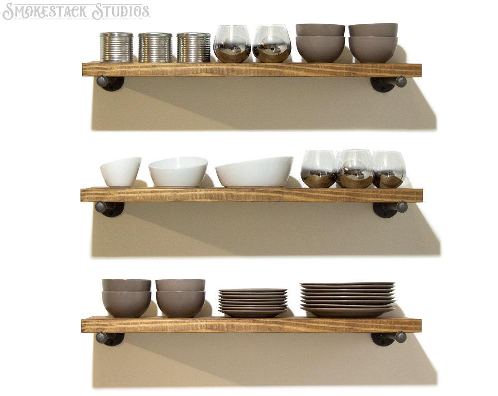 Open Wood Shelves Kitchen