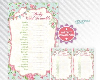 Shabby chic word scramble, baby shower game printable - INSTANT DOWNLOAD
