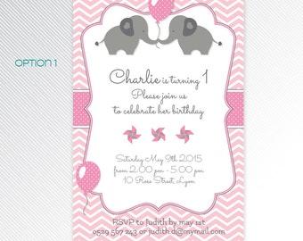 Pink elephant party printable invitation, photo invitation, digital invitation