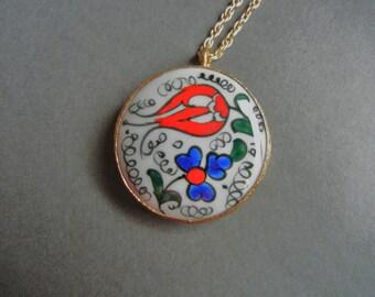 Dutch Hex Necklace, Hex Necklace, Porcelain Hex Necklace, Pennsylvania Hex Necklace