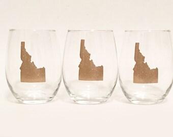 Set of 3 - Glitter - Custom State Outline Heart Stemless Wine Glass Gold Sparkly Shimmer - Idaho