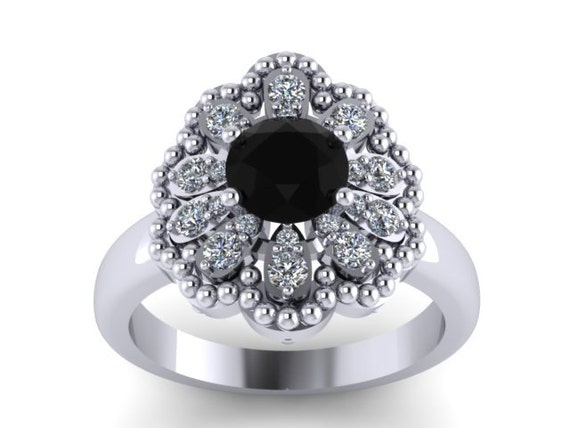 Unique Engagement Ring Natural Black Diamond Engagement Ring