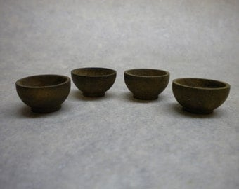 One Inch Dollhouse Wooden Bowls x 4 -  Medieval Tudor Kitchen Food