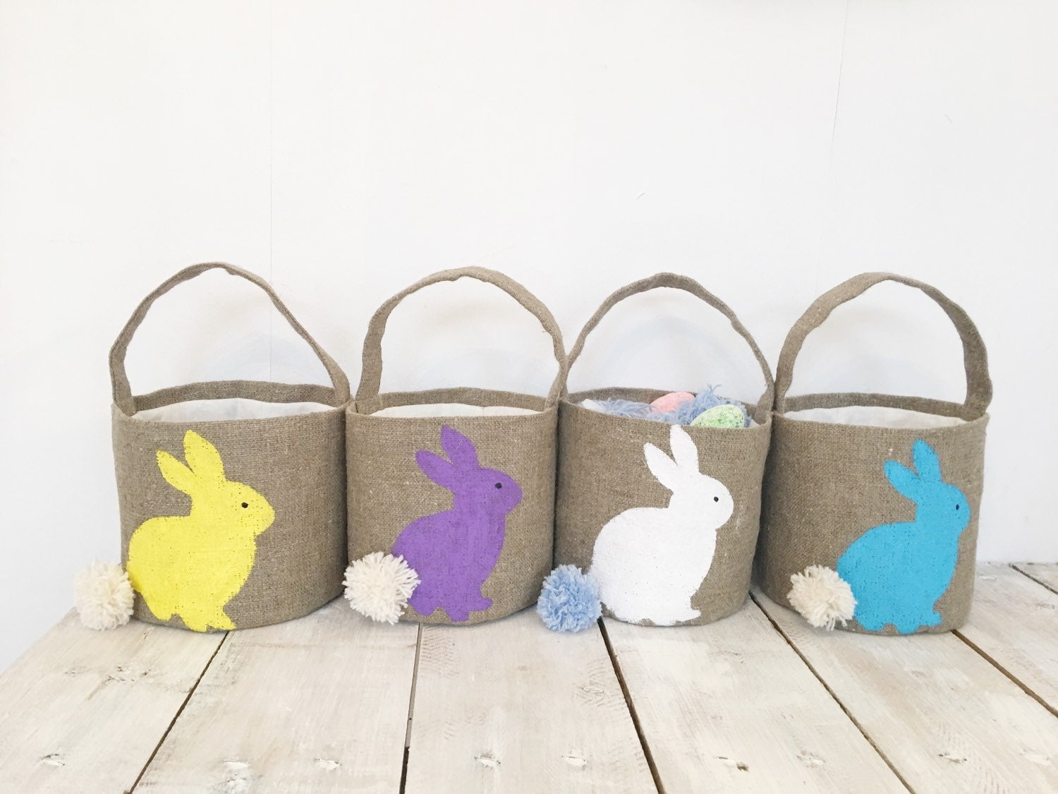 Burlap Easter Basket Personalized Easter Bunny Girls Easter