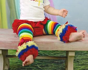 Rainbow leg warmer triple chiffon red orange yellow green blue purple bows baby girls accessory