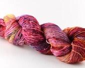 Hand dyed yarn,  100% superwash merino, single ply, high twist fingering, 400 yards, 'Flamingo (a)'