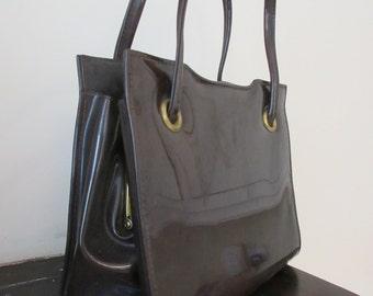 Vintage 1960's 'St. Michael' Patent Brown Handbag - Cute!!