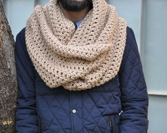 Extra Large Infinity Scarf Mens Hooded Scarves Thick Knit Scarf for Men Giant Knit Scarf Plus Size Scarf - Dark Beige / ATHENA