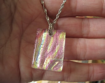 Sterling Silver Pink Dichroic Glass Pendant Necklace (730)