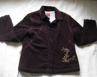 Original Kenzo Jungle Corduroy Fleece Lined Floral Embroidered Purple Jacket M