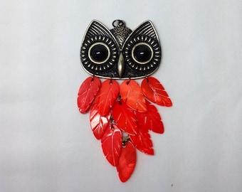 Owl Charm Pendant Orange Feather Dangle Black Eyes Gold Tone Bird Prey Face Head Metal Jewelry Supply