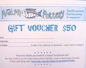 50 AUD Pottery Gift Voucher, Ceramics Gift Certificate, Pottery Gift Card,Pottery Gift Voucher, pottery voucher,
