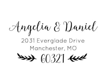 "Return Address Stamp, personalized rubber stamp, return address stamp, envelope stamp, wedding stationery stamp, new home, 2.5""x1"" (cas84)"