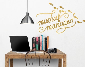Harry Potter Mischief Managed Wall Decal - Harry Potter Wall Decor  - HP Wall Decal