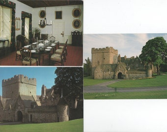 Drum Castle, near Aberdeen, Scotland, 3 Unused Postcards, 1980s, Tower, Dining Room, North View, good shape