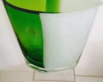 Mid Century Modern, Art Glass Vase, Green, White, Hand Blown, Westlake Village, CA