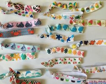Summer Hairties - Grab Bag, FOE, Fold Over Elastic, Creaseless Hairties, Hair ties, Watermelon, Fruit, Whales, Dolphins, Flowers, Sailboats