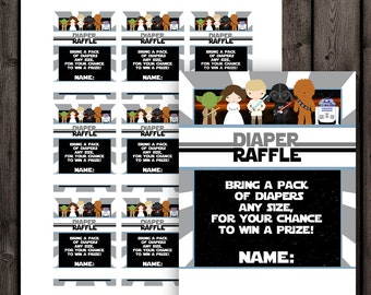Star Wars Baby Shower Diaper Raffle Tickets, Diaper Raffle Baby Shower Game,  Star Wars