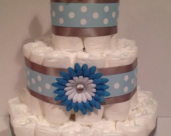 Baby Boy Diaper Cake, Baby Shower Centerpiece, Boy Diaper Cake, Baby Shower Gift, Diaper Cake