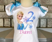SALE Frozen Elsa Birthday Shirt With Shoulder Bows - Customizable Name and Age