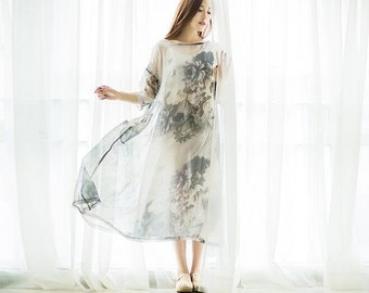 Restore ancient ways the ink printing high-end silk loose robes,Long Dress, Women Maxi dress ,Silk dress,chiffon dress-Women Clothing