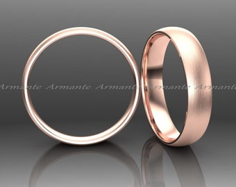 Wedding Band, Rose Gold Wedding Band, 14K Rose Gold Wedding Band, Hand Made Wedding Band, 4.00mm Wide