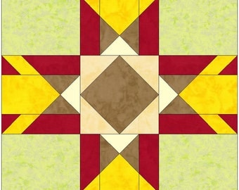 Chicago Star 10 Inch Block Paper Foundation Quilting Block Pattern PDF