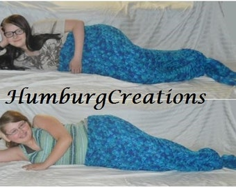 Mermaid Tail Blanket Cocoon Hand Crocheted for Toddler, Child, Preteen, Teen, Adult (Ocean Blues Mix) Fast Turn Around