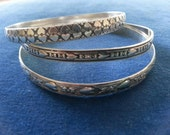 Vintage Sterling Danecraft Bangle Bracelets, Set of Danecraft Bangle Bracelets