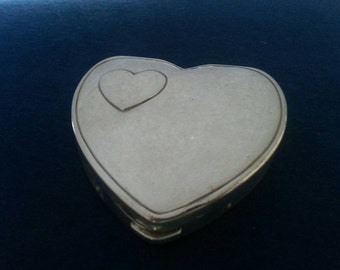 Vintage Sterling Heart Compact, Hingeco Sterling Heart Compact